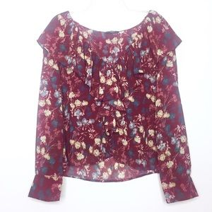 VICI Among the Roses Cascading Ruffle Blouse Small